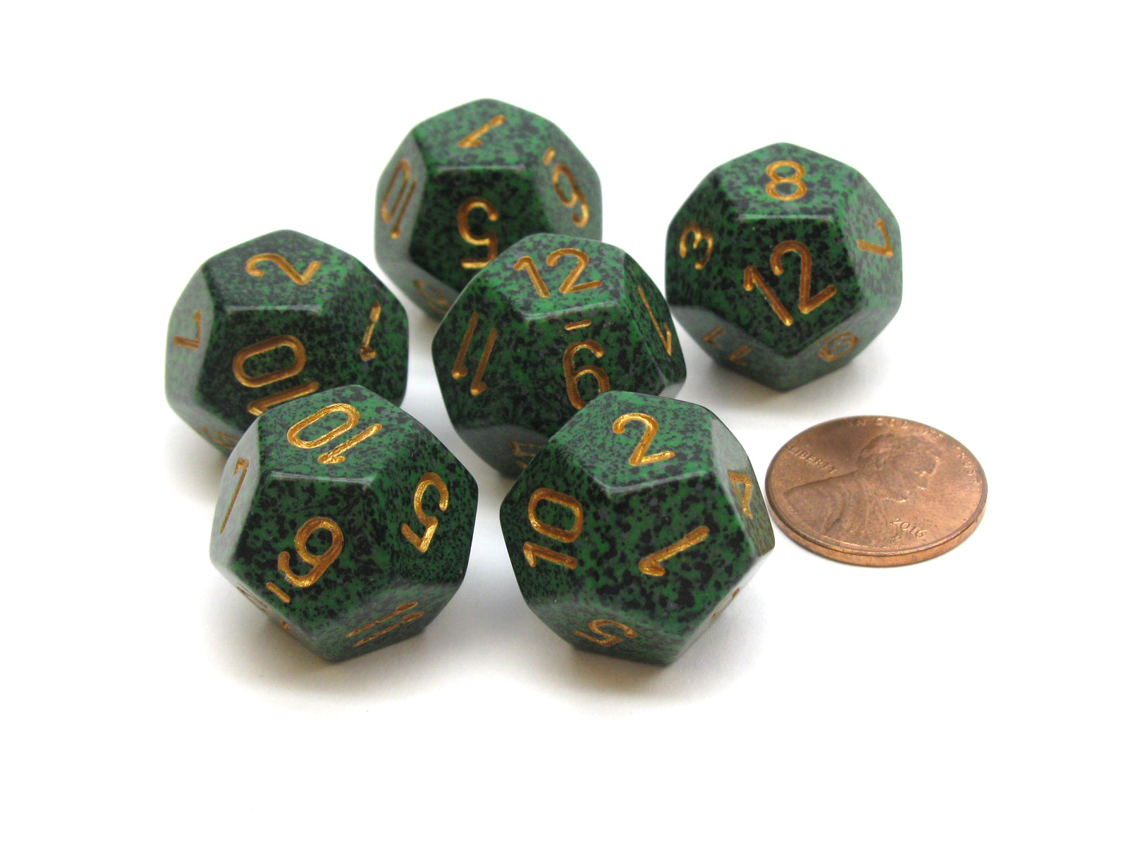 Speckled 18mm 12 Sided D12 Chessex Dice, 6 Pieces -  Golden Recon
