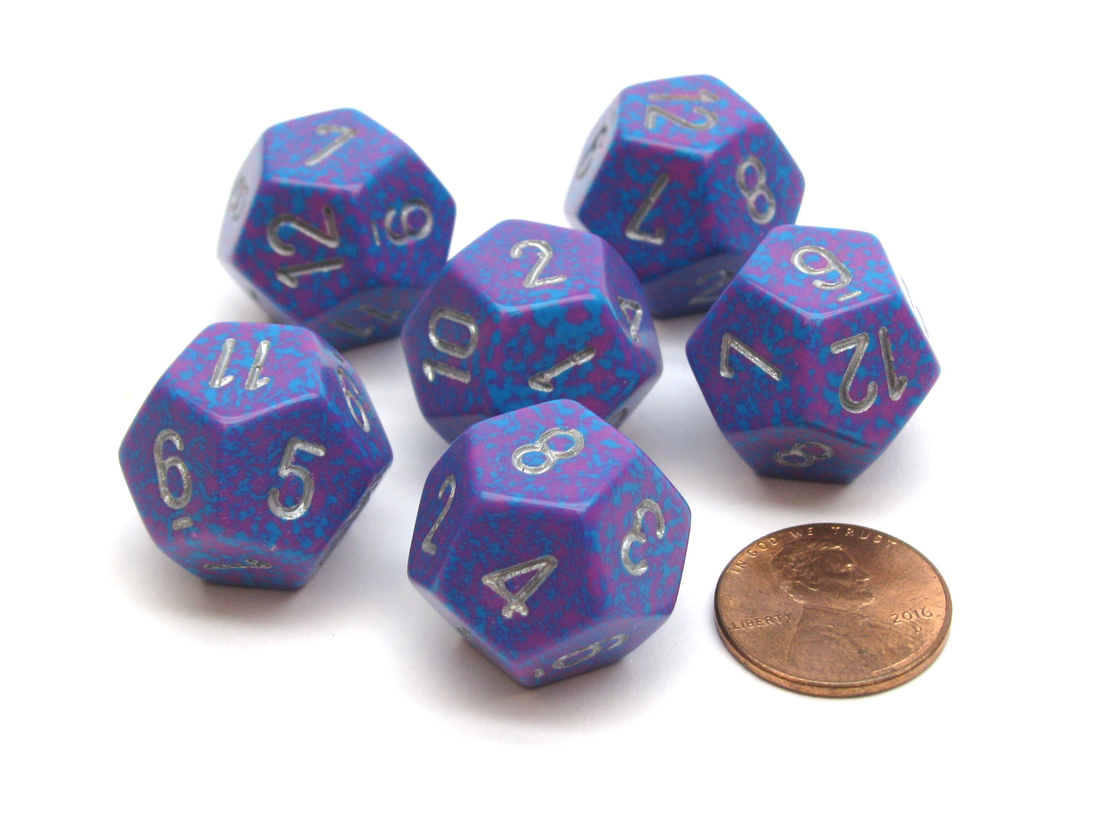Speckled 18mm 12 Sided D12 Chessex Dice, 6 Pieces -  Silver Tetra