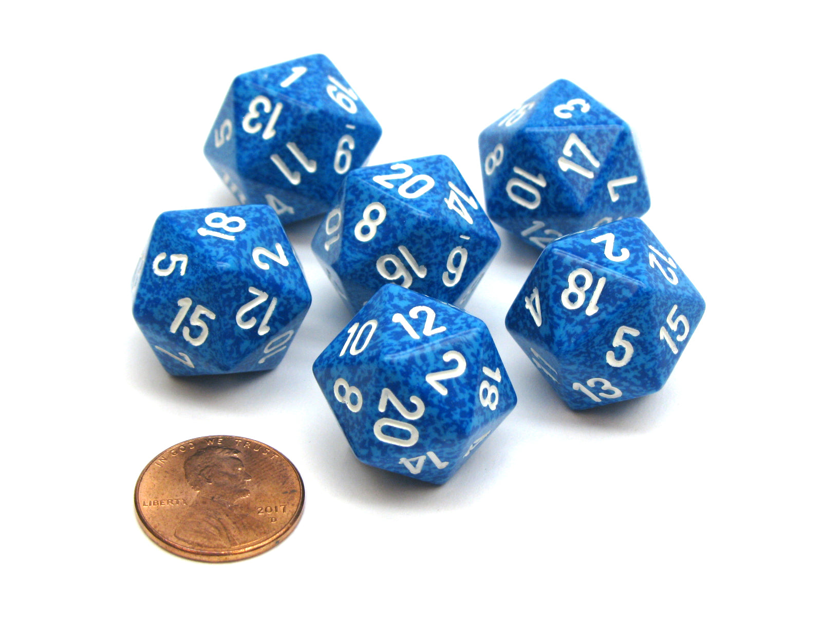Speckled 20 Sided D20 Chessex Dice, 6 Pieces - Water