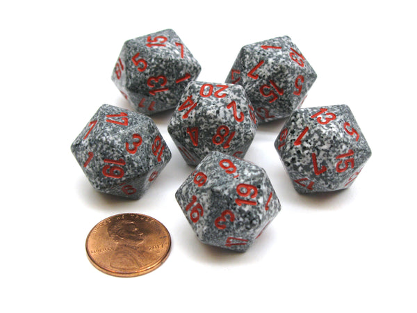 Speckled 20 Sided D20 Chessex Dice, 6 Pieces - Granite