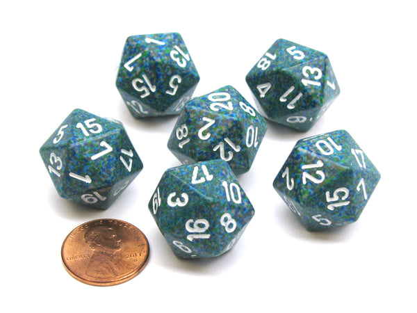 Speckled 20 Sided D20 Chessex Dice, 6 Pieces - Sea