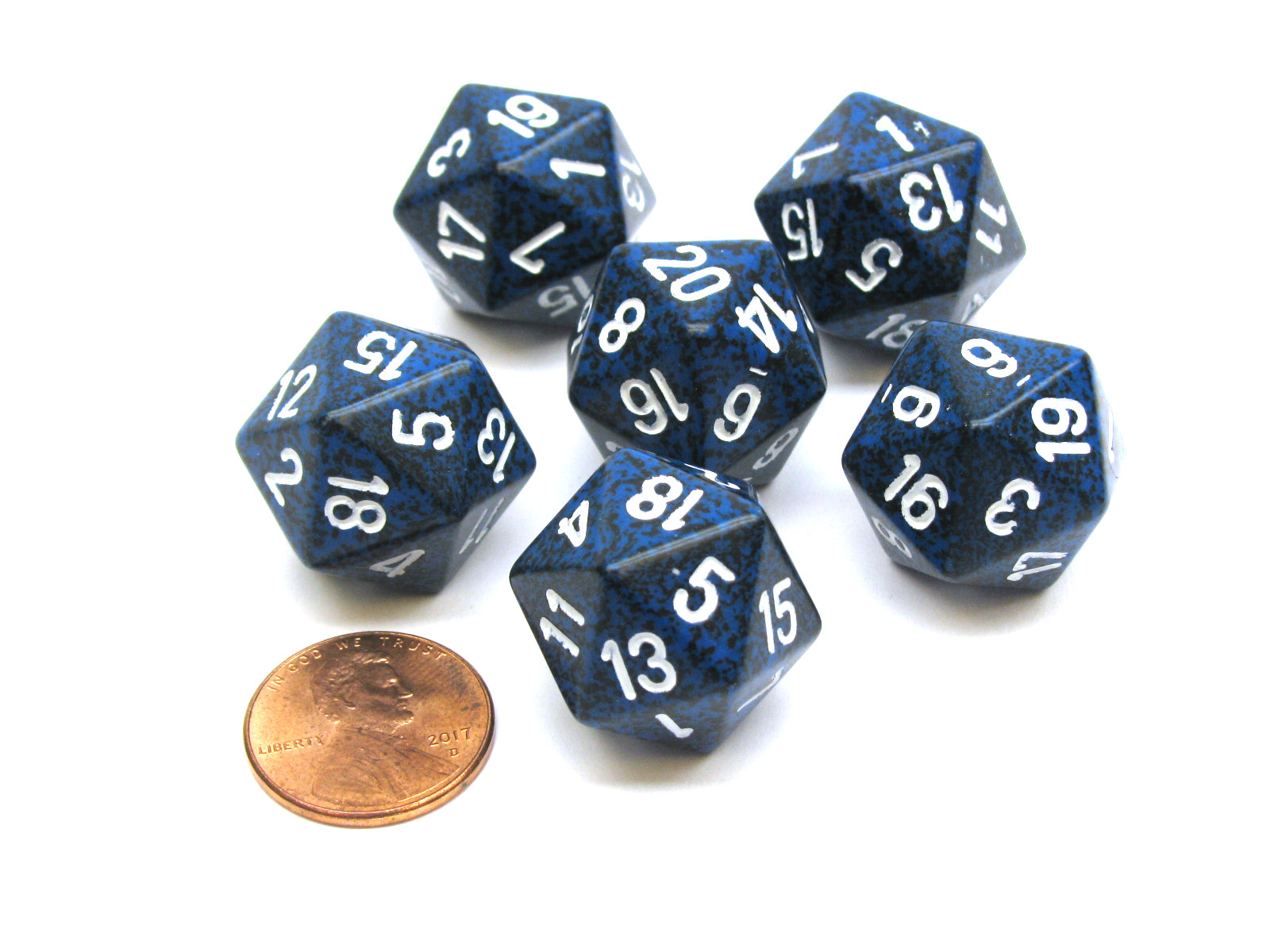 Speckled 20 Sided D20 Chessex Dice, 6 Pieces - Stealth