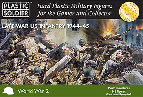 15mm Easy Assembly American Infantry 1944-45 #PSC WW2015006 Unpainted Miniatures