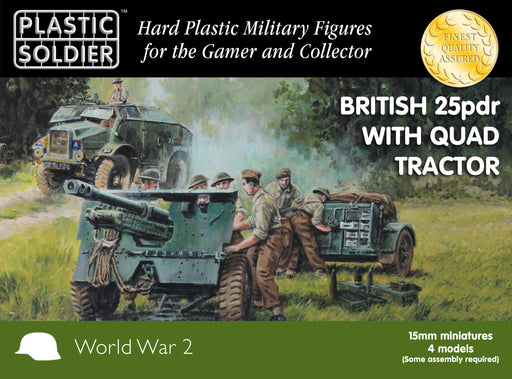 15mm Easy Assembly British 25 Pdr and Morris Quad Tractor WW2G15005 Unpainted