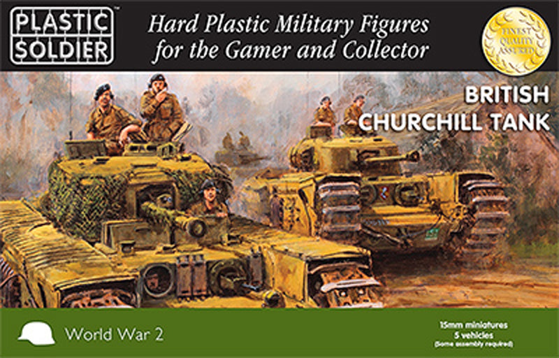 15mm Easy Assembly Churchill Tank #PSC WW2V15023 Unpainted Miniatures