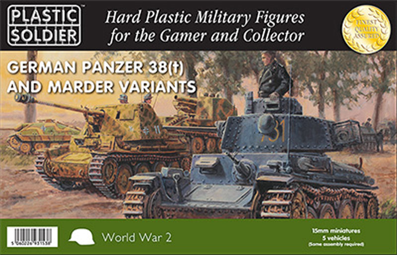 15mm Easy Assembly: Pz 38T and Marder Variants #WW2V15025 Unpainted Miniature