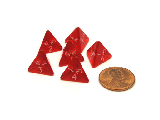 Translucent 12mm Mini 4 Sided D4 Chessex Dice, 6 Pieces - Red with White Numbers