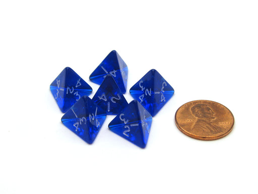 Translucent 12mm Mini 4 Sided D4 Chessex Dice, 6 Pieces - Blue with White