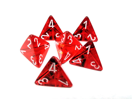 Translucent 18mm 4 Sided D4 Chessex Dice, 6 Pieces - Red with White