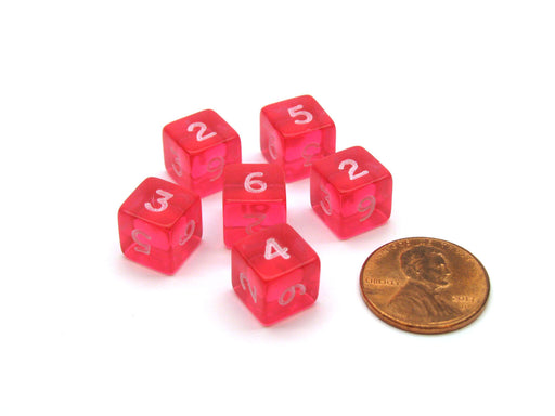 Translucent 9mm Mini 6 Sided D6 Chessex Dice, 6 Pieces - Pink with White Numbers