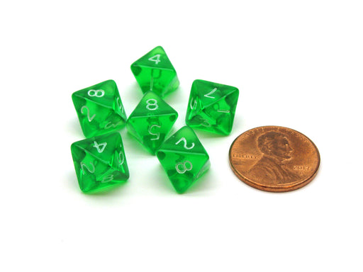 Translucent 9mm Mini 8 Sided D8 Chessex Dice, 6 Pieces - Green with White