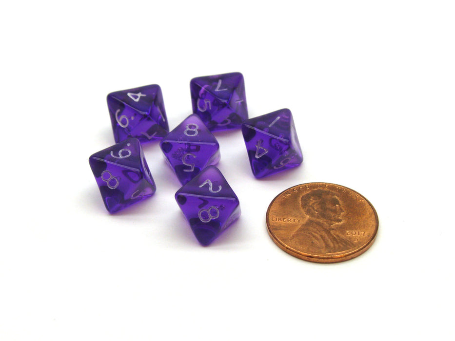 Translucent 9mm Mini 8 Sided D8 Chessex Dice, 6 Pieces - Purple with White