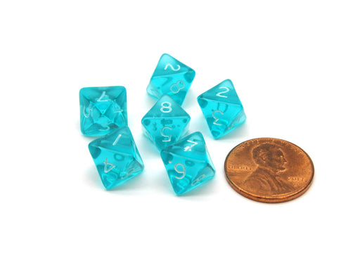 Translucent 9mm Mini 8 Sided D8 Chessex Dice, 6 Pieces - Teal with White Numbers