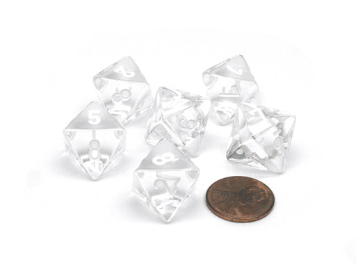 Translucent 15mm 8 Sided D8 Chessex Dice, 6 Pieces - Clear with White Numbers
