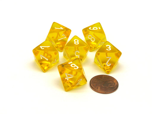 Translucent 15mm 8 Sided D8 Chessex Dice, 6 Pieces - Yellow with White Numbers