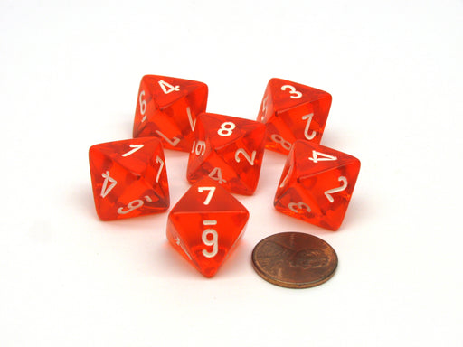Translucent 15mm 8 Sided D8 Chessex Dice, 6 Pieces - Orange with White Numbers