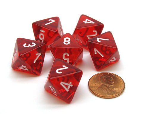 Translucent 15mm 8 Sided D8 Chessex Dice, 6 Pieces - Red with White