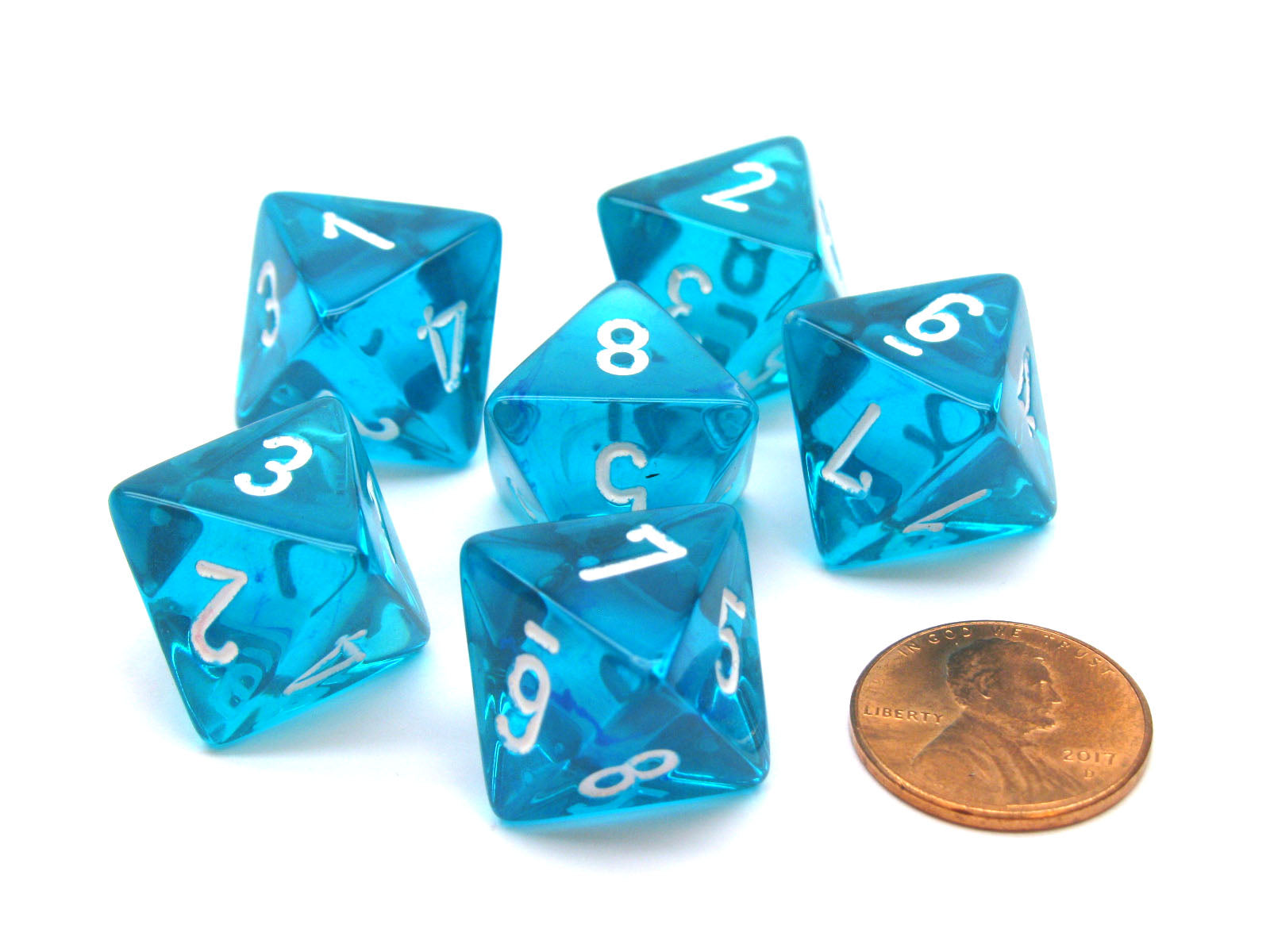 Translucent 15mm 8 Sided D8 Chessex Dice, 6 Pieces - Teal with White