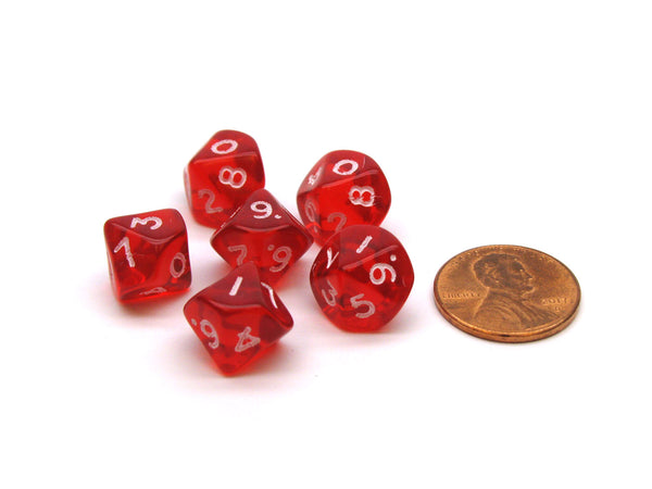 Translucent 10mm Mini 10-Sided D10 Chessex Dice, 6 Pieces - Red with White