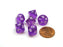 Translucent 10mm Mini 10-Sided D10 Chessex Dice, 6 Pieces - Purple with White