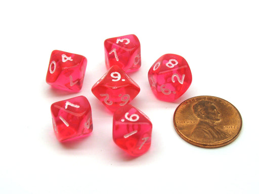 Translucent 10mm Mini 10-Sided D10 Chessex Dice, 6 Pieces - Pink with White
