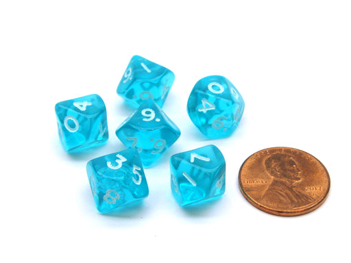 Translucent 10mm Mini 10-Sided D10 Chessex Dice, 6 Pieces - Teal with White