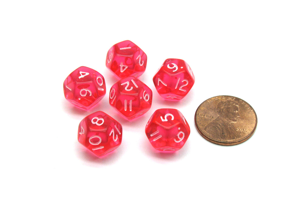 Translucent 12mm Mini 12 Sided D12 Chessex Dice, 6 Pieces -  Pink with White