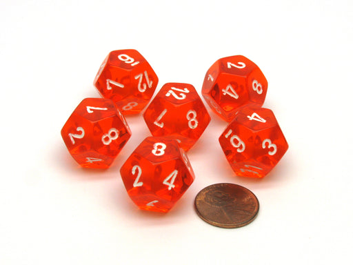 Translucent 18mm 12 Sided D12 Chessex Dice, 6 Pieces - Orange with White Numbers