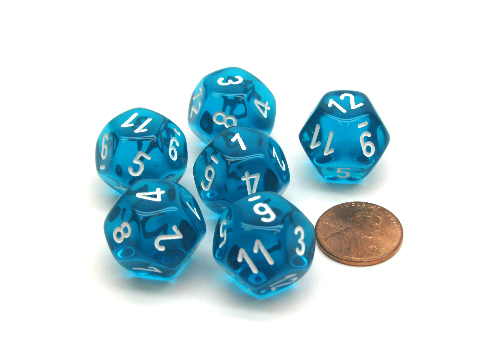 Translucent 18mm 12 Sided D12 Chessex Dice, 6 Pieces -  Teal with White