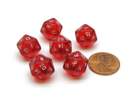 Translucent 12mm Mini 20-Sided D20 Chessex Dice, 6 Pieces - Red with White