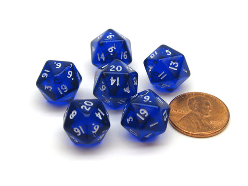 Translucent 12mm Mini 20-Sided D20 Chessex Dice, 6 Pieces - Blue with White