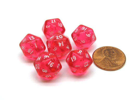 Translucent 12mm Mini 20-Sided D20 Chessex Dice, 6 Pieces - Pink with White