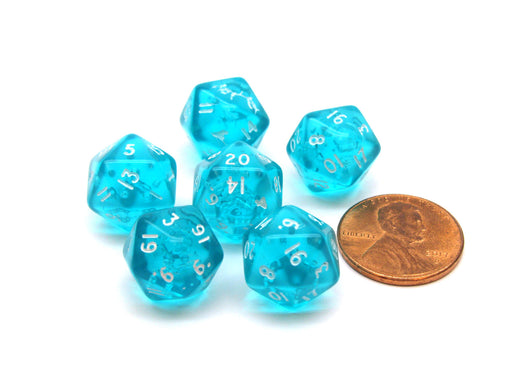 Translucent 12mm Mini 20-Sided D20 Chessex Dice, 6 Pieces - Teal with White