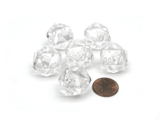 Translucent 20mm 20 Sided D20 Chessex Dice, 6 Pieces - Clear with White Numbers
