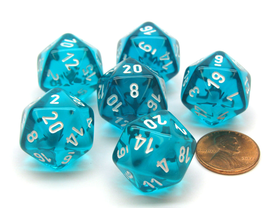Translucent 20mm 20 Sided D20 Chessex Dice, 6 Pieces - Teal with White Numbers
