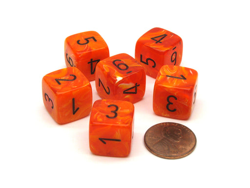 Vortex 15mm 6 Sided D6 Chessex Dice, 6 Pieces - Orange with Black Numbers