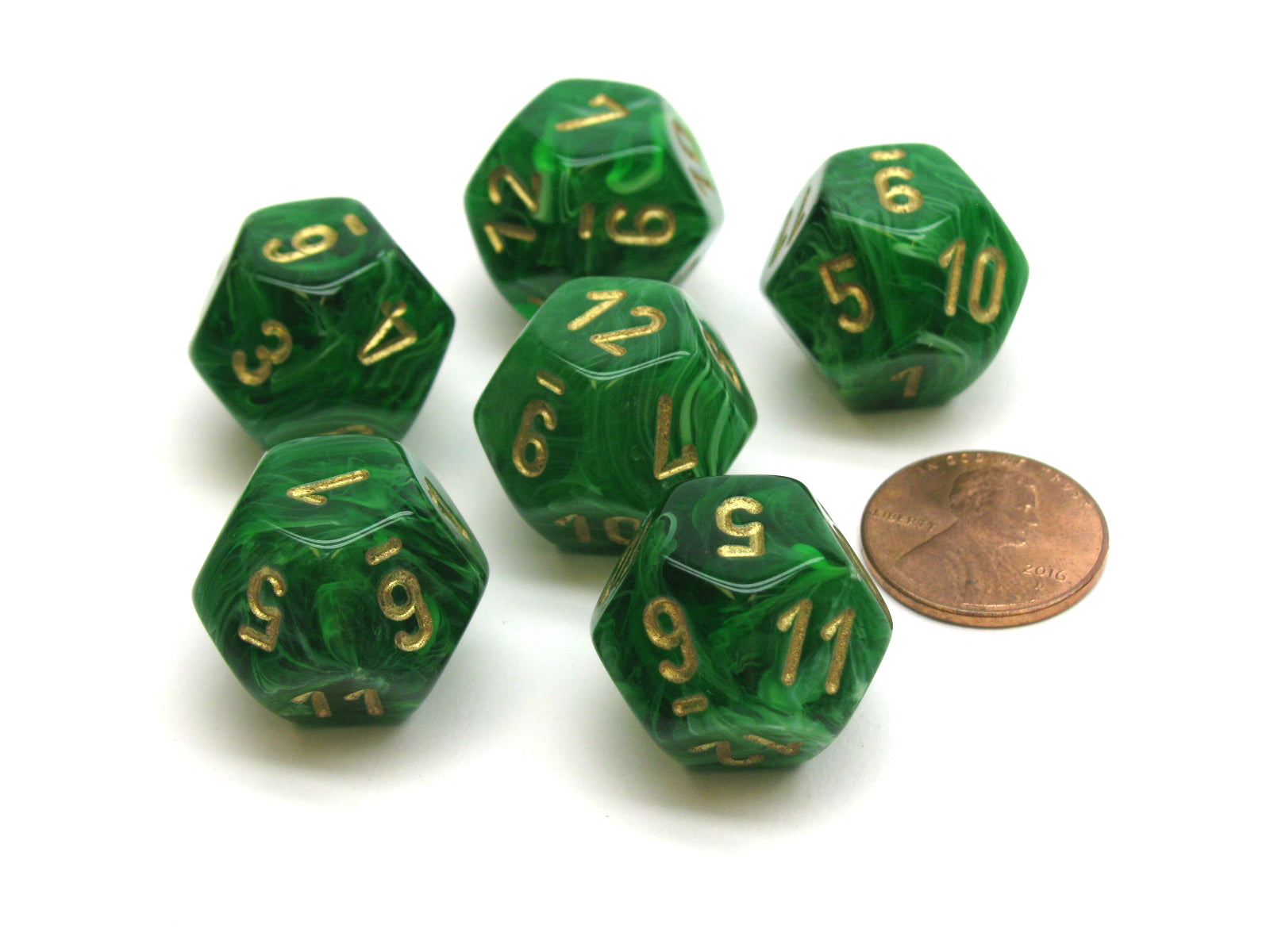 Vortex 18mm 12 Sided D12 Chessex Dice, 6 Pieces -  Green with Gold