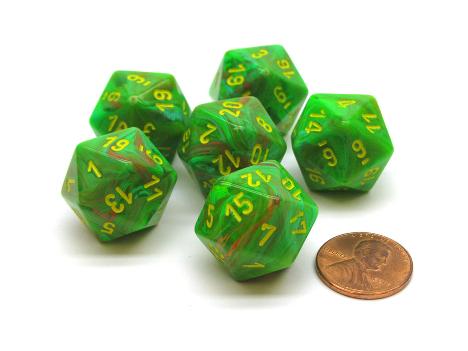 Vortex 20mm 20 Sided D20 Chessex Dice, 6 Pieces - Slime with Yellow Numbers