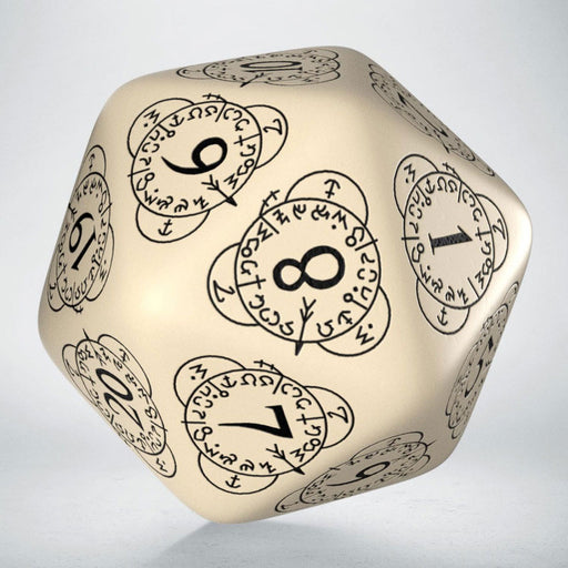Q-Workshop CG Level Counter D20 Dice - Beige with Black Etches