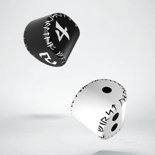 Q-Workshop Runic Unique Dice Set - 1 White/Black D2 + 1 Black/White D4