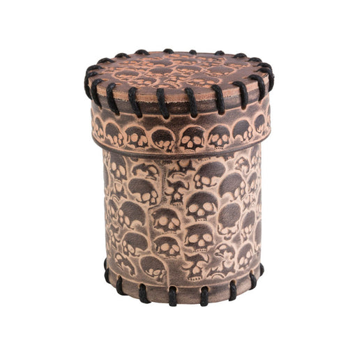 Q-Workshop Dice Cup - Skull Beige Leather