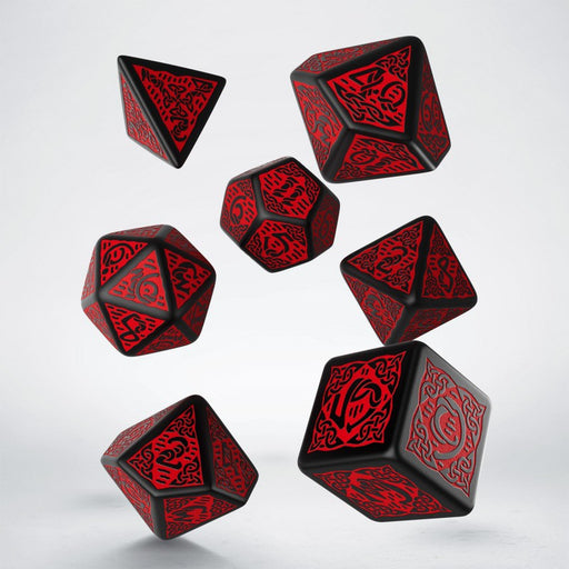 Q-Workshop Celtic Dice Set 3D Black with Red (7 Piece Set)