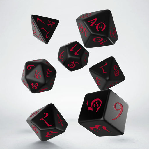 Q-Workshop Classic RPG Dice Set - Black with Red (7 Pieces)