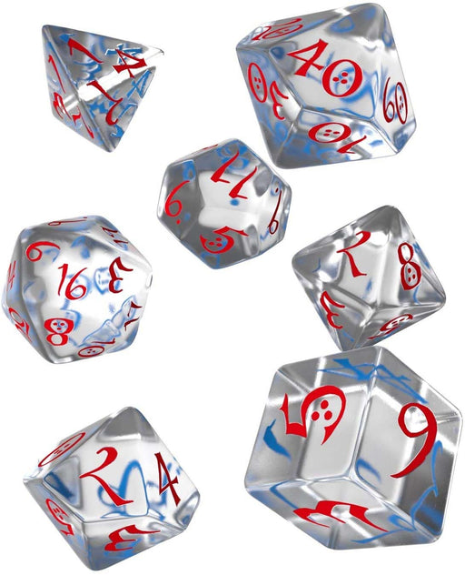 Q-Workshop Classic RPG Dice Set Transparent Blue with Red Numbers (7 Piece Set)