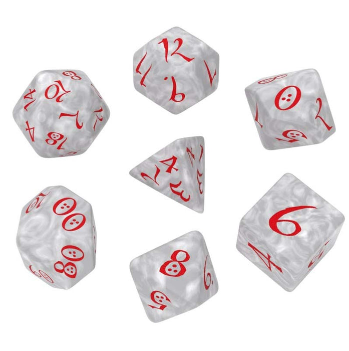 Q-Workshop Classic RPG Dice Set Pearl with Red Numbers (7 Piece Polyhedral Set)