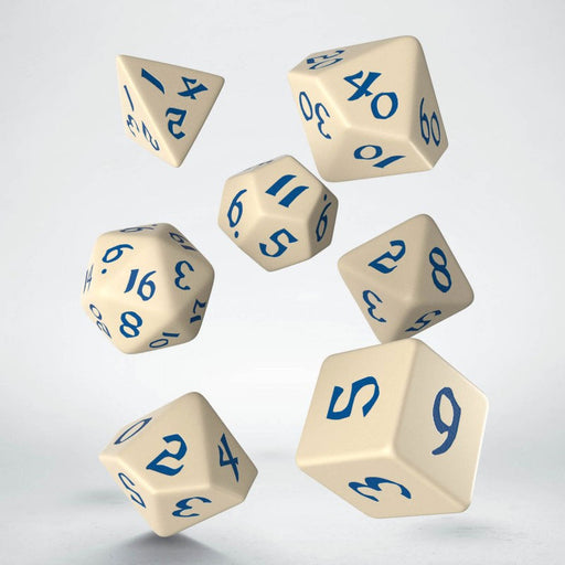 Classic Runic 7 Piece Polyhedral Dice Set - Beige & Blue