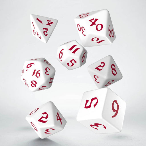 Classic Runic 7 Piece Polyhedral Dice Set - White & Red
