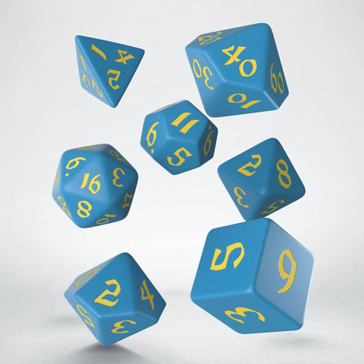 Classic Runic 7 Piece Polyhedral Dice Set - Blue & Yellow