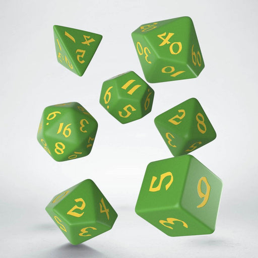 Classic Runic 7 Piece Polyhedral Dice Set - Green & Yellow