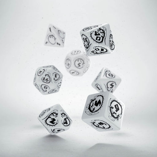 Q-Workshop Dragons Dice Set White with Black Etches (7 Piece Set)